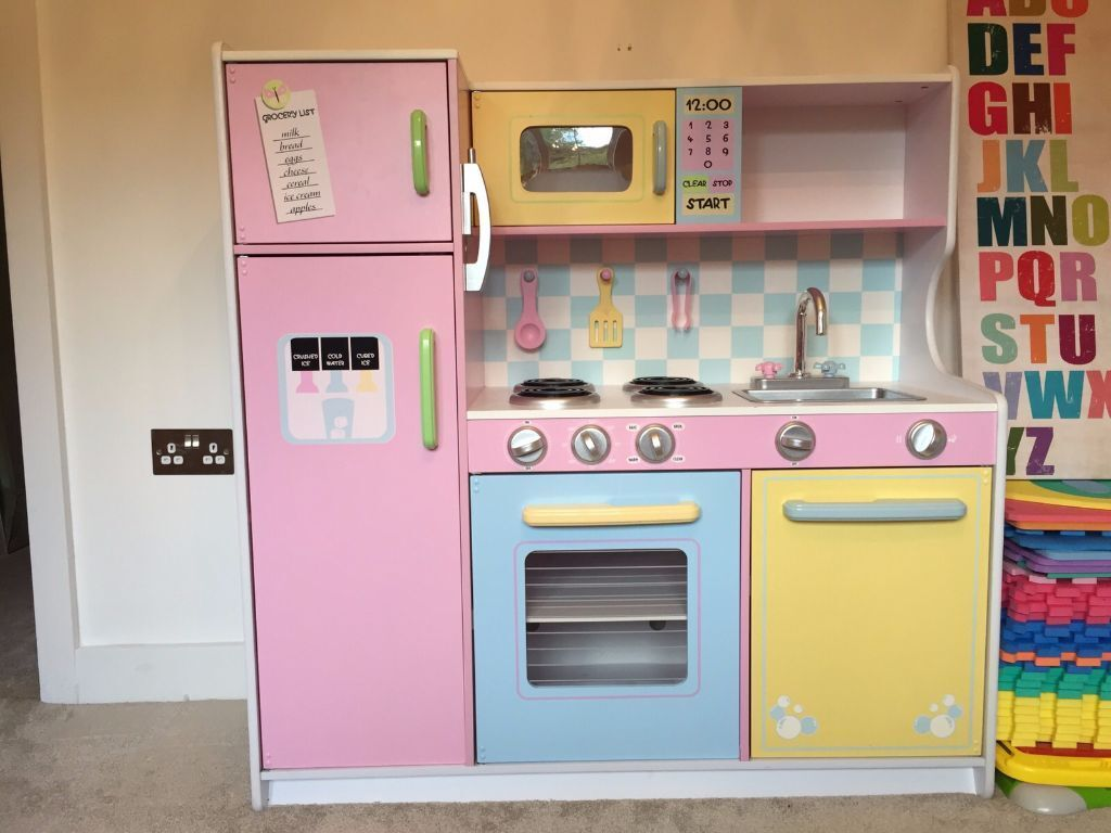 kidkraft large childrens play kitchen vgc toys pastel wood effect kids girls boys childs rrp