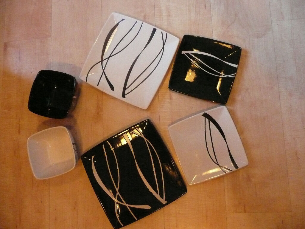 8 Piece Ethos Black and white dinner set with square dinner plates side plates and & 8 Piece Ethos Black and white dinner set with square dinner plates ...