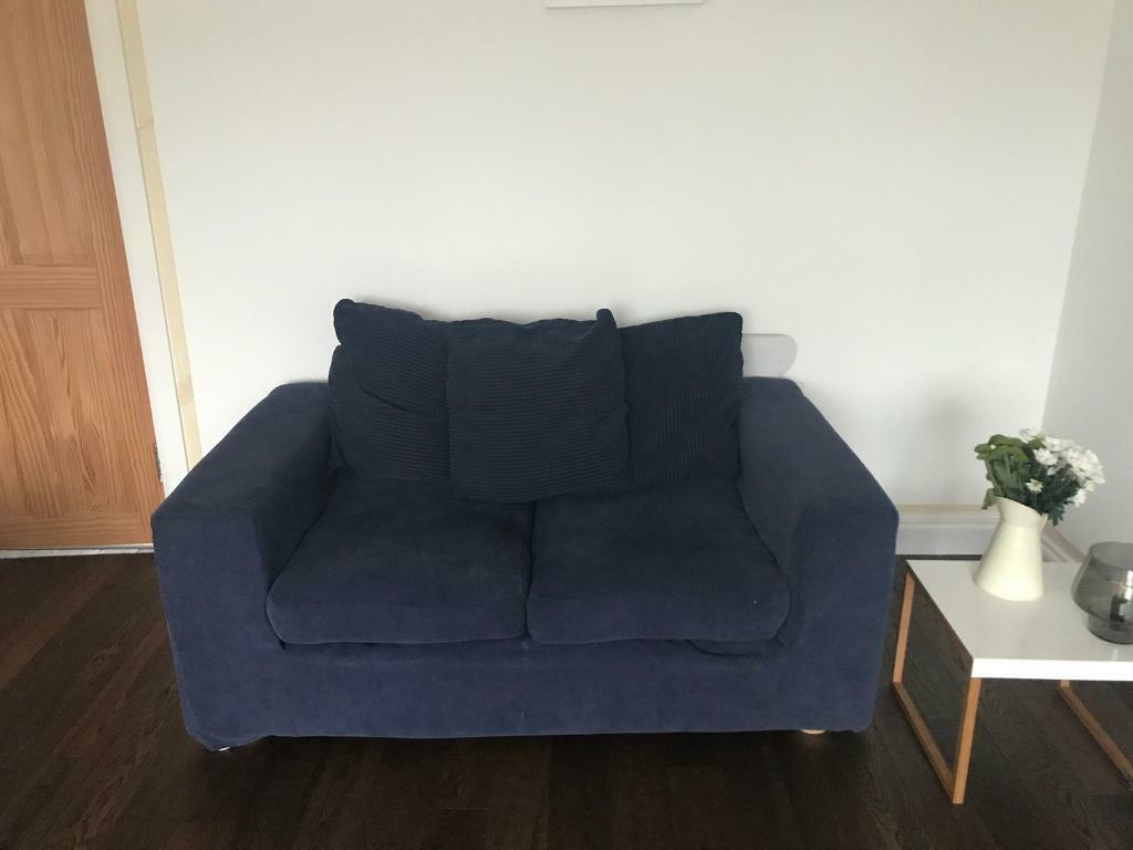 2 Seater Navy Blue Fabric Sofa   FREE For Collection   Glasgow