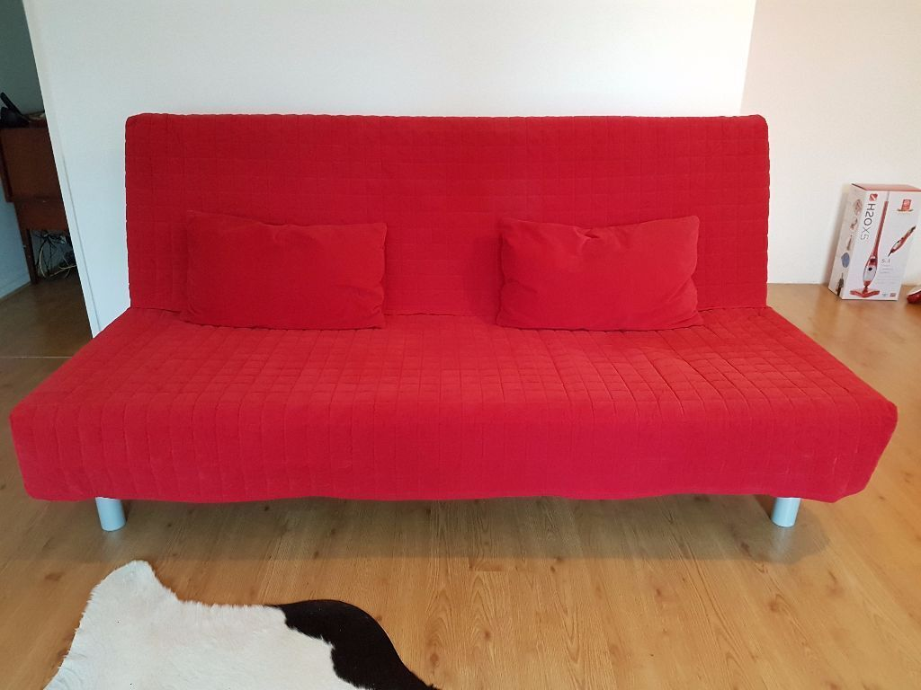Lovely IKEA BEDDINGE SOFA BED 3 SEATER + RED COVER + 2 CUSHIONS Ideas