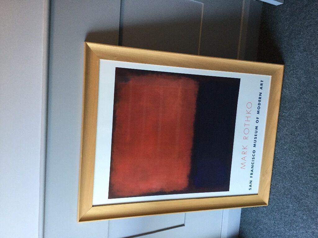 framed mark rothko print orange blue u0026 red