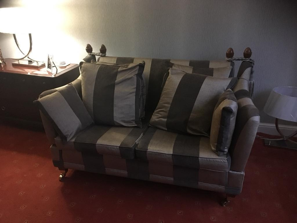 Incroyable Beautiful Sofas (3 Seater And 2 Seater) Brown And Gold Stripe Effect