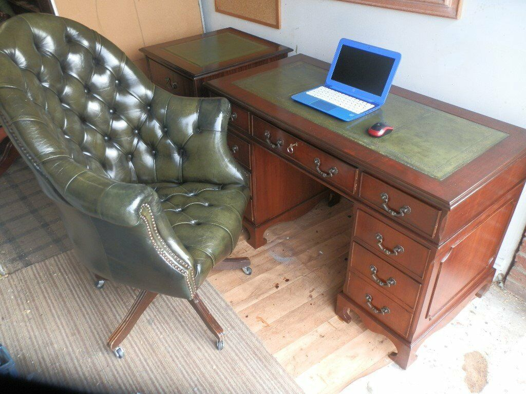 Antique Style Leather Top Pedestal Desk, 2 Drawer Filing Cabinet, Matching  Directors Chair
