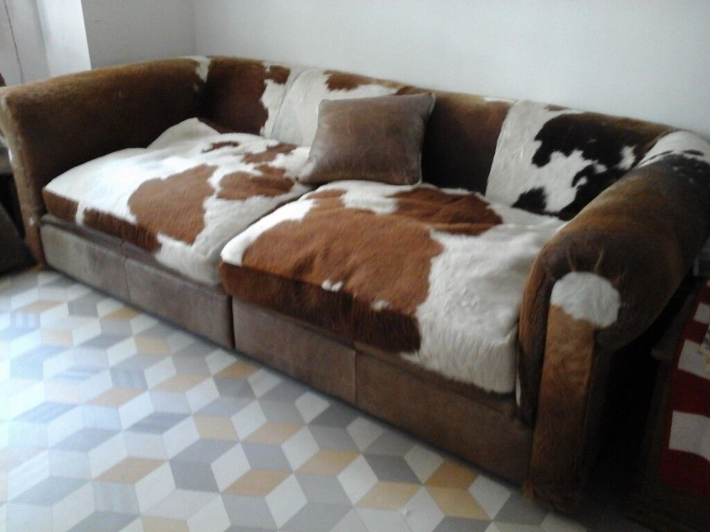 Large FUNKY 3 Seaters Cow Hide Sofa ,in 2 Parts. Like A Chesterfield.