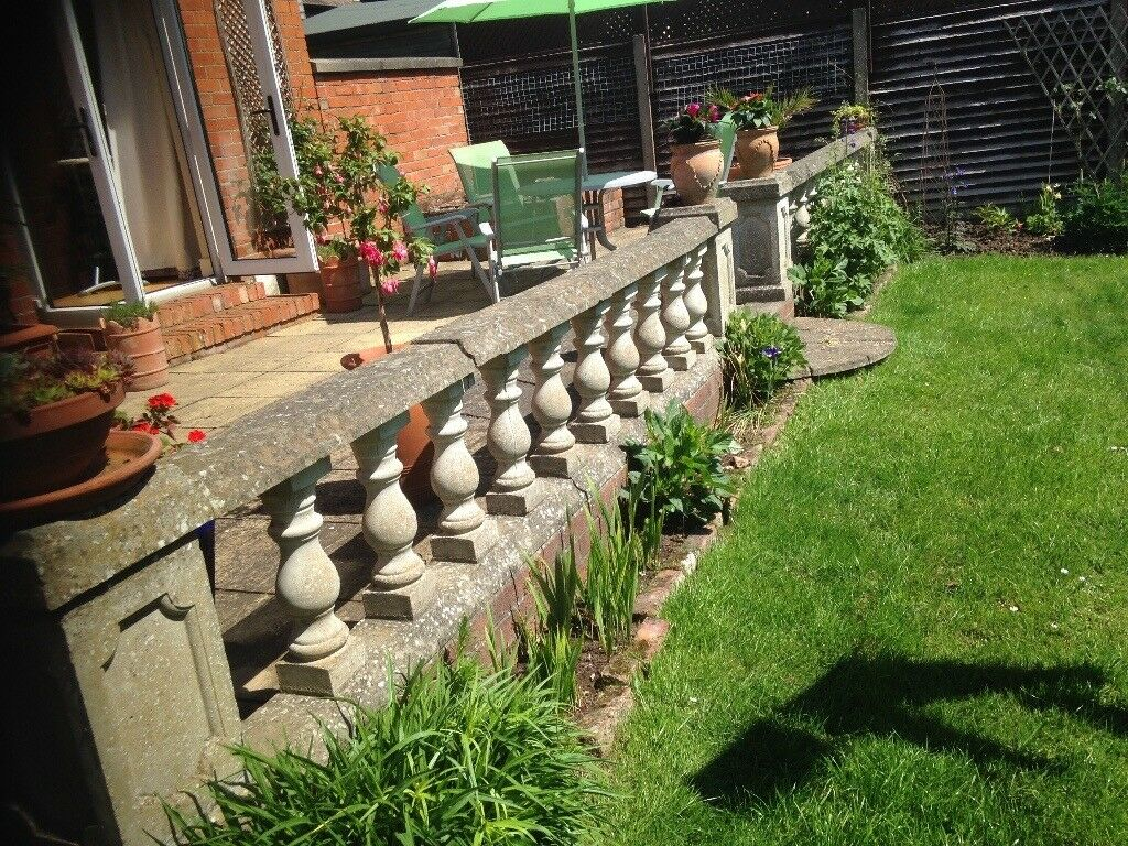 Garden And Patio Decorative Balustrade. Stone Pillars Posts, Tops And  Bottoms