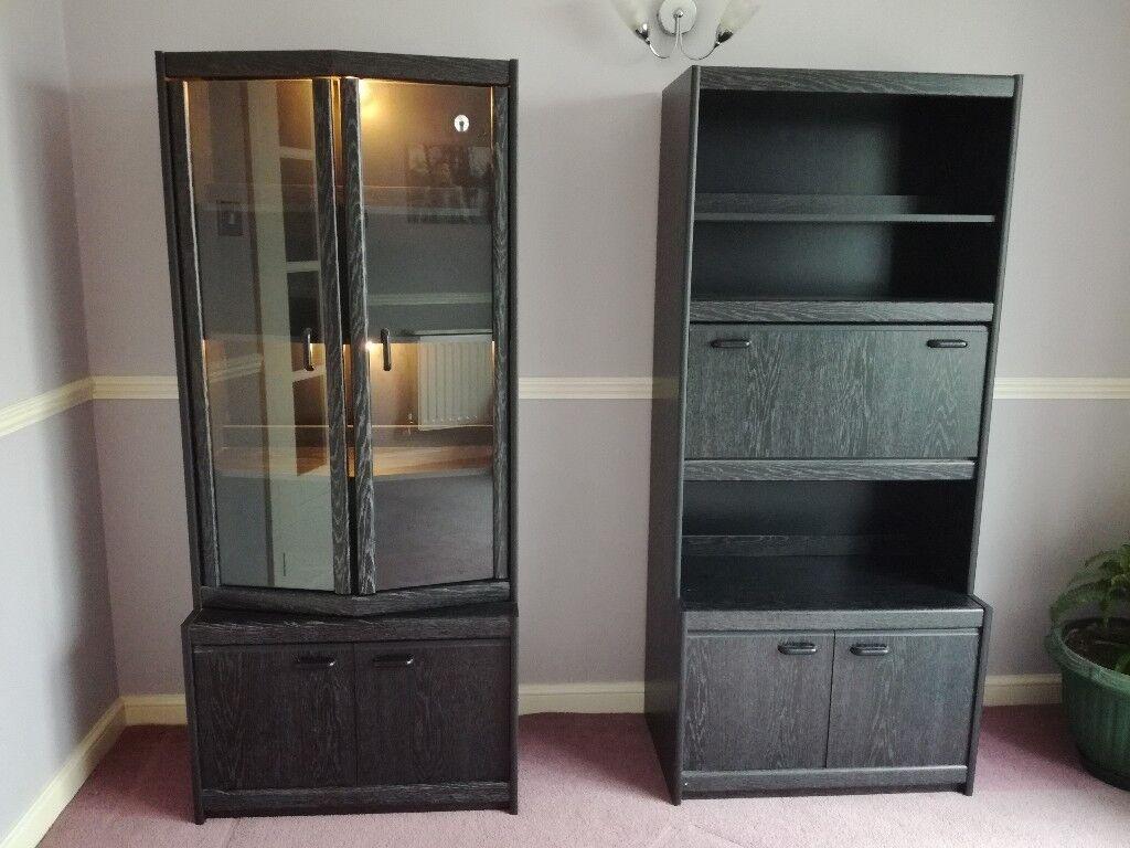 Amazing Black Ash Dining Room Display Cabinets