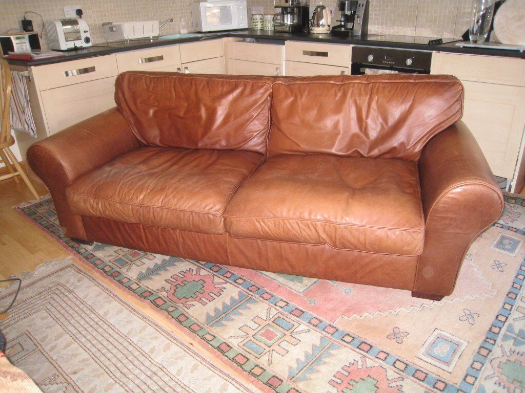 Laura Ashley Bradford Character Leather Sofa Large Two Seater
