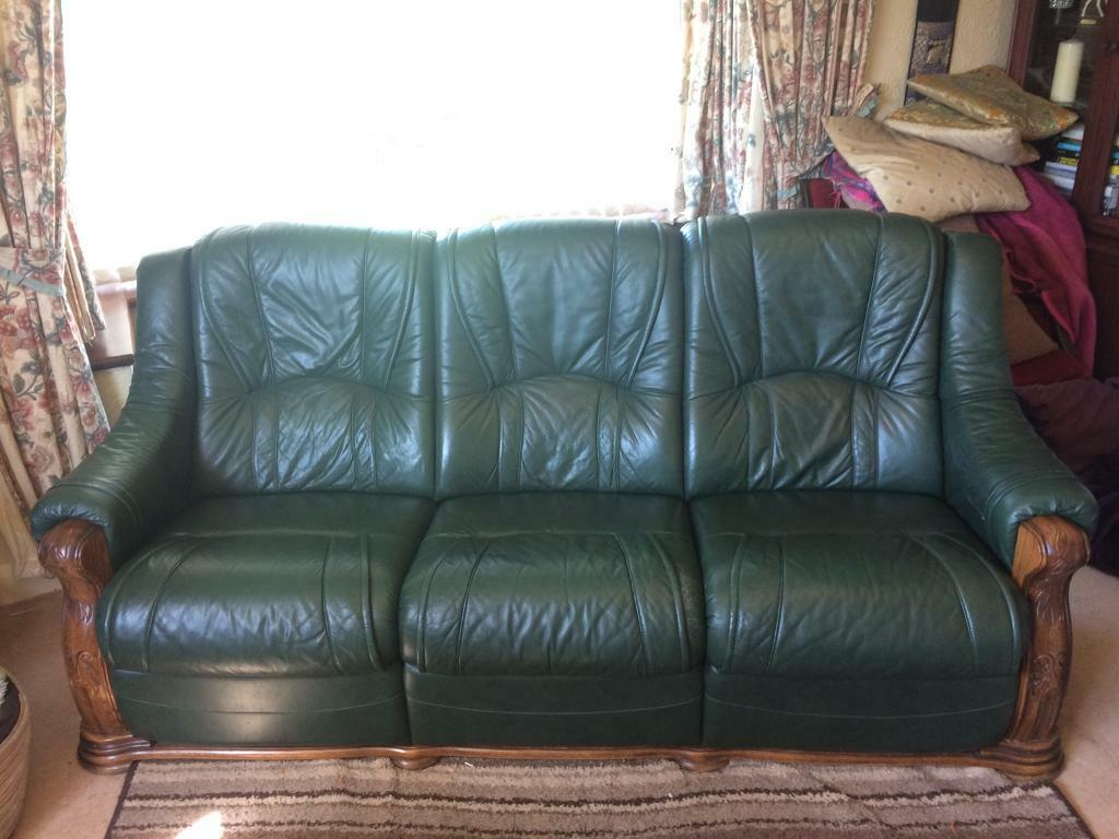 Solid Oak Green Leather Sofa And Electric Recliner.