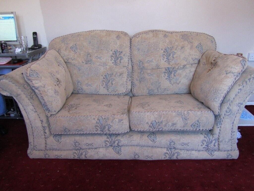 Lovely 2 Seater Sofa, Beige And Pastel Blue,