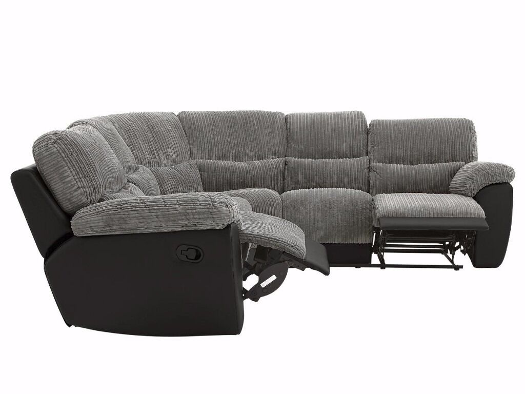 littlewoods sienna grey cord fabric and black leather recliner corner sofa 56 seater