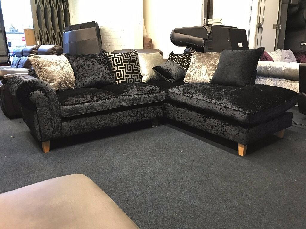 littlewoods lawrence llewellyn scarpa black luxury crushed velvet right hand chaise end corner sofa
