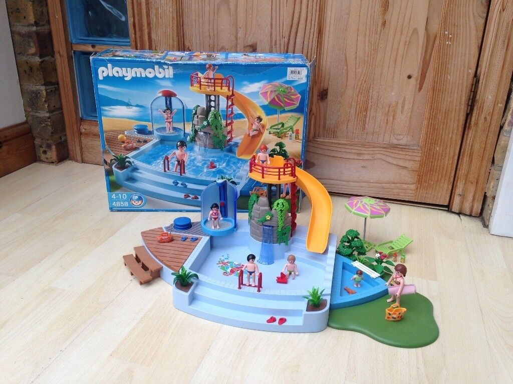 Playmobil Swimming Pool With Working Shower And Water Slide, BOXED