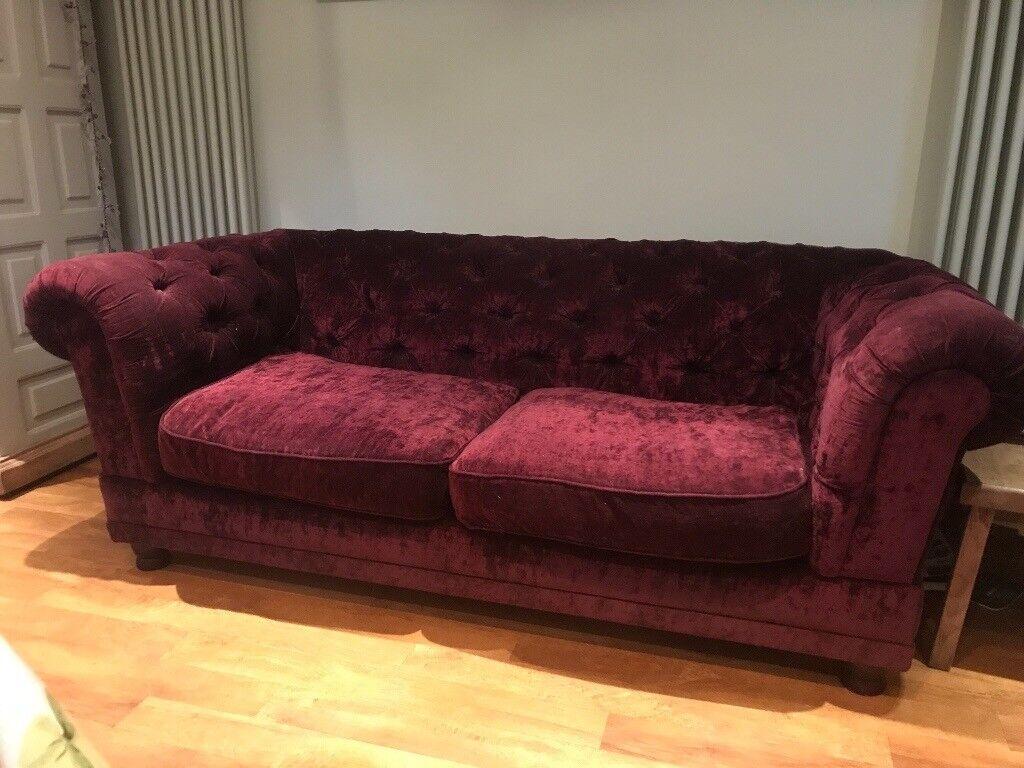 Genial Crushed Velvet Burgundy Chesterfield Sofa