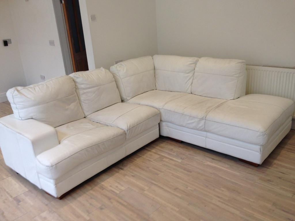 Beau White Leather Corner Sofa