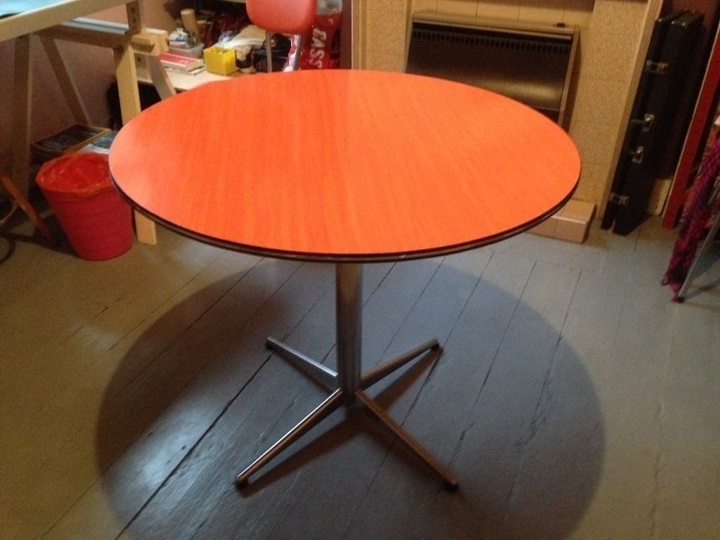 Retro Chic Vintage 60s Or 70s Round Dining Table With Formica Top