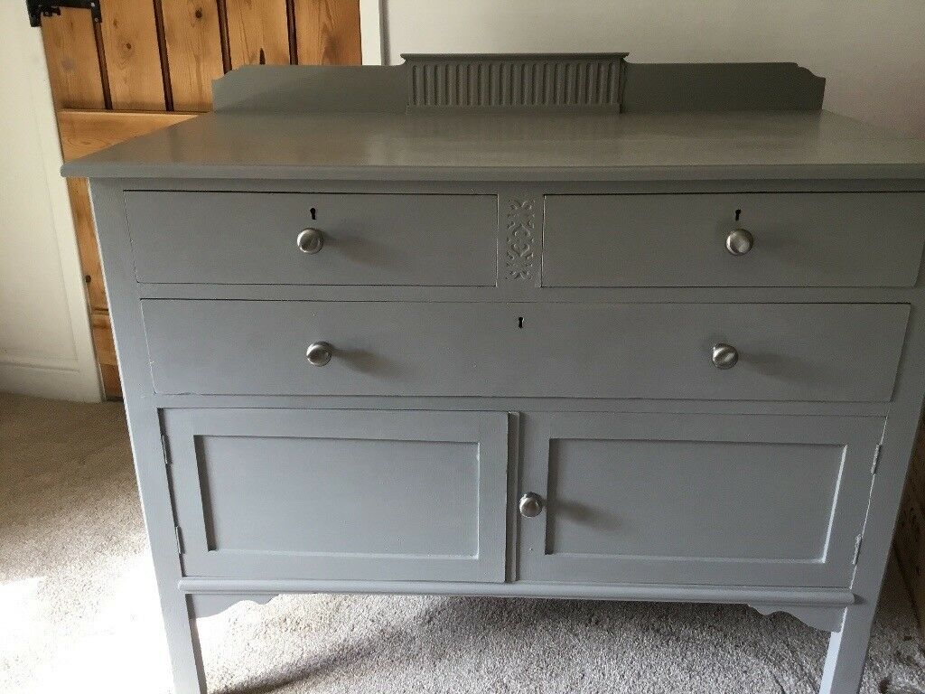 Superieur Old Shabby Chic Sideboard/drawers Painted In Laura Ashley Pale French Grey  Furniture Paint.