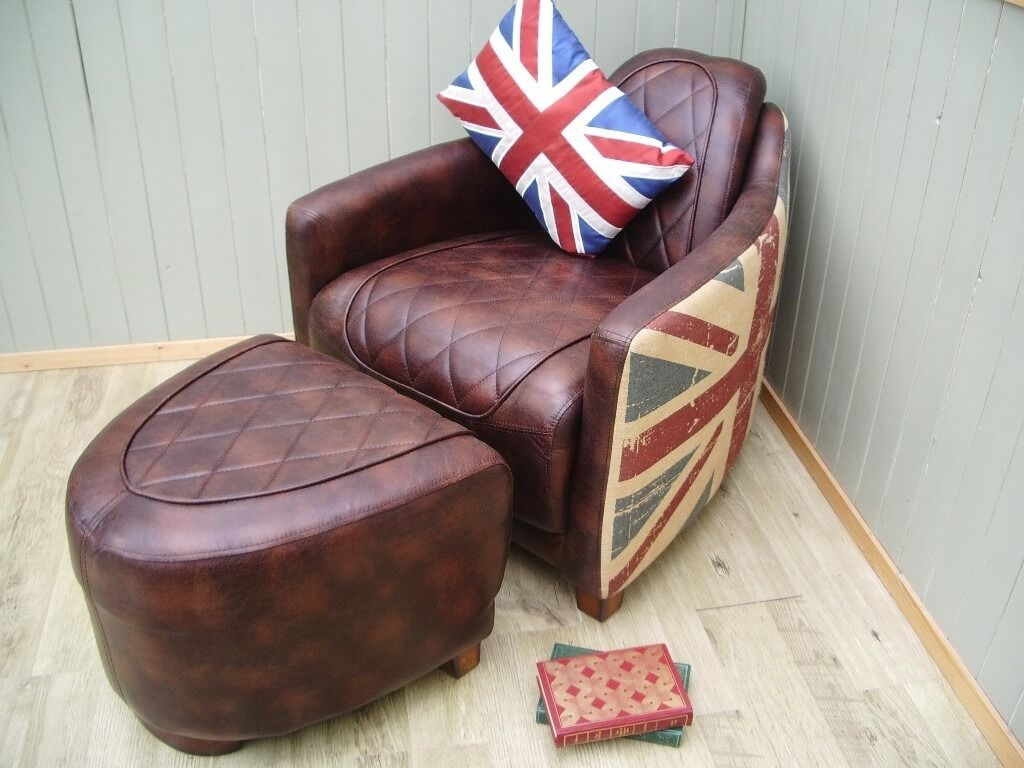 Merveilleux Stunning Halo Aviator Bonded Leather And Material Union Jack Chair