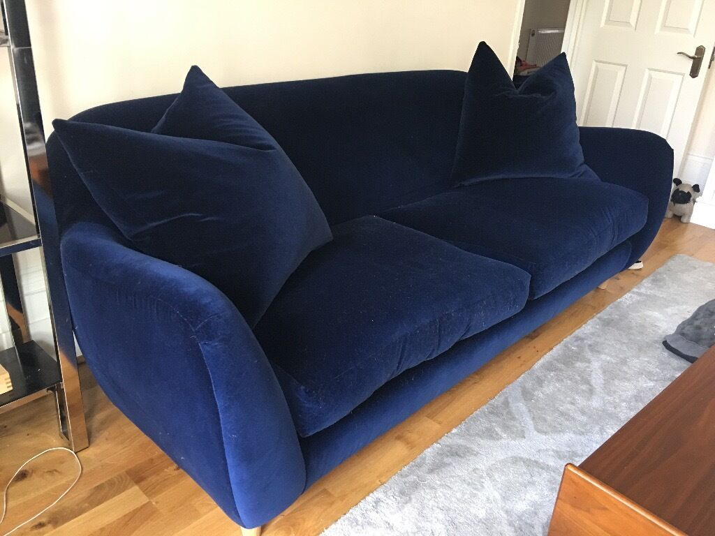 Beautiful U0027LOAFu0027 Plush Velvet Midnight Blue 3 Seater Sofa With Cushions  (only 7