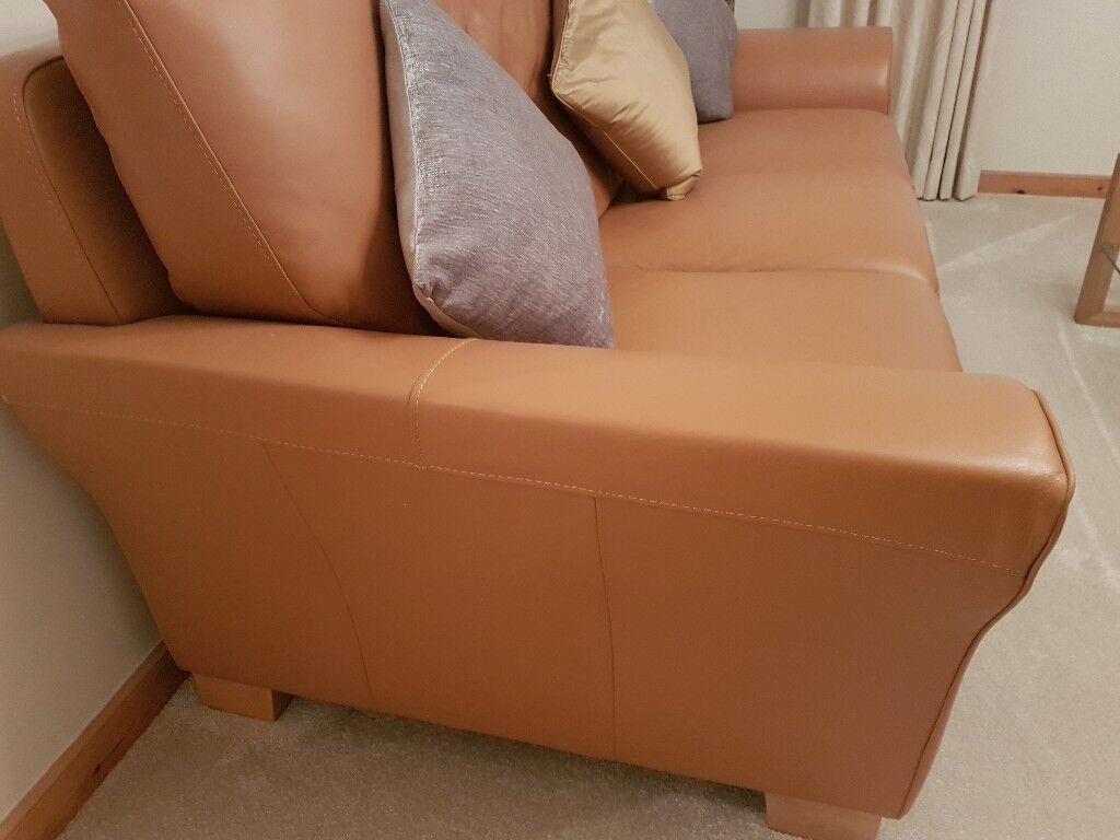 Tan Leather Sofa And Armchair