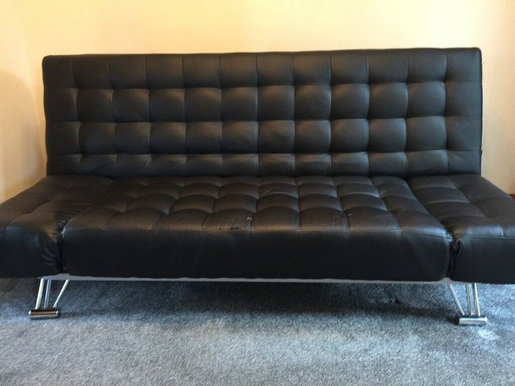 Click Clack Sofa Bed Black Faux Leather