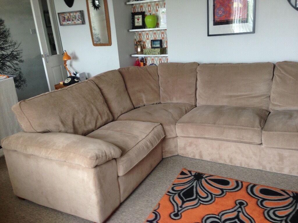 Sterling Furniture Beige Cord Corner Sofa.