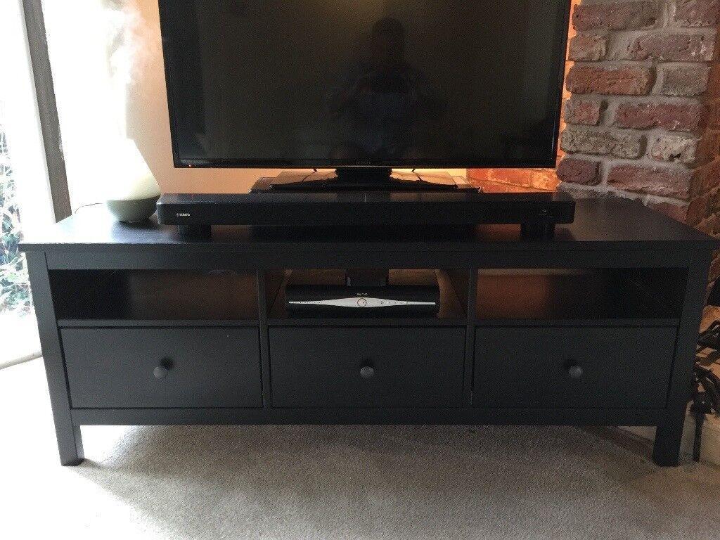 Ikea Hemnes TV Bench In Black Brown   3 Storage Drawers