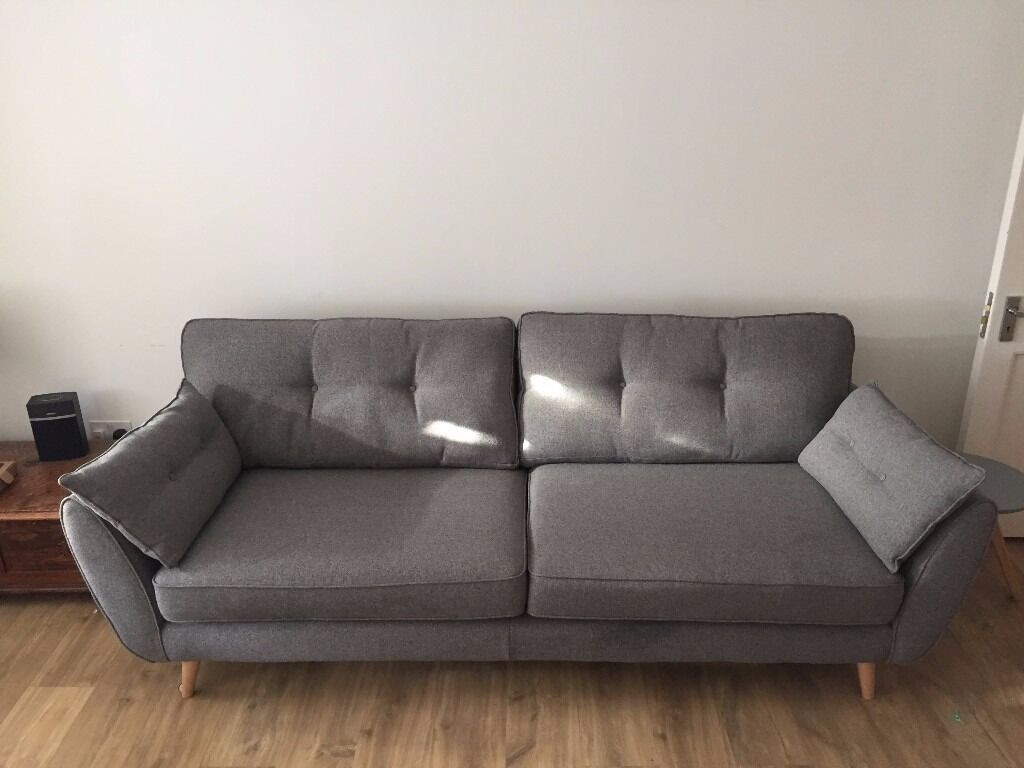Superior DFS French Connection Zinc 4 Seater Grey Sofa