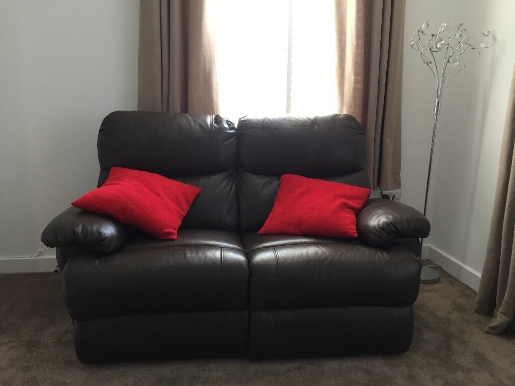2 Chocolate Brown Real Leather Sofas.
