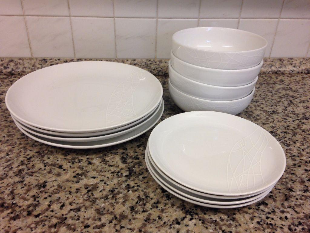 Jamie Oliver White on White Starter Dinner set - 4x dinner plates side plates & Jamie Oliver White on White Starter Dinner set - 4x dinner plates ...