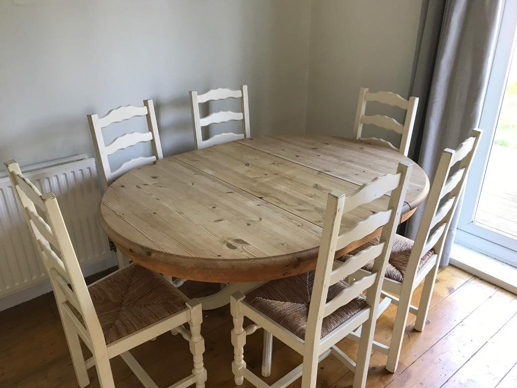 Nice Extendable Pine Dining Table With 6 Chairs