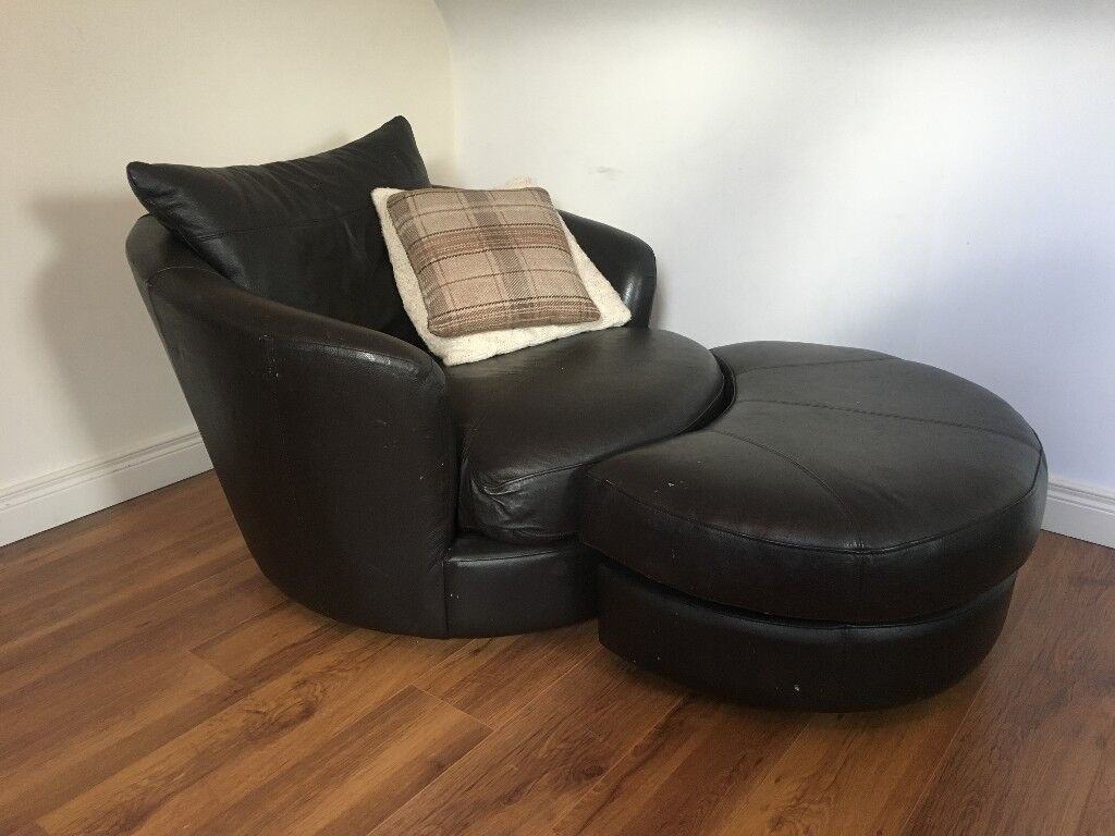 Leather Cuddle Swivel Chair With Half Moon Foot Stool