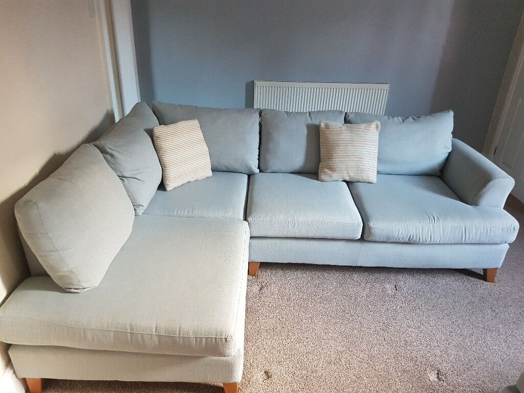 Pastel Blue Corner Sofa And Footstool