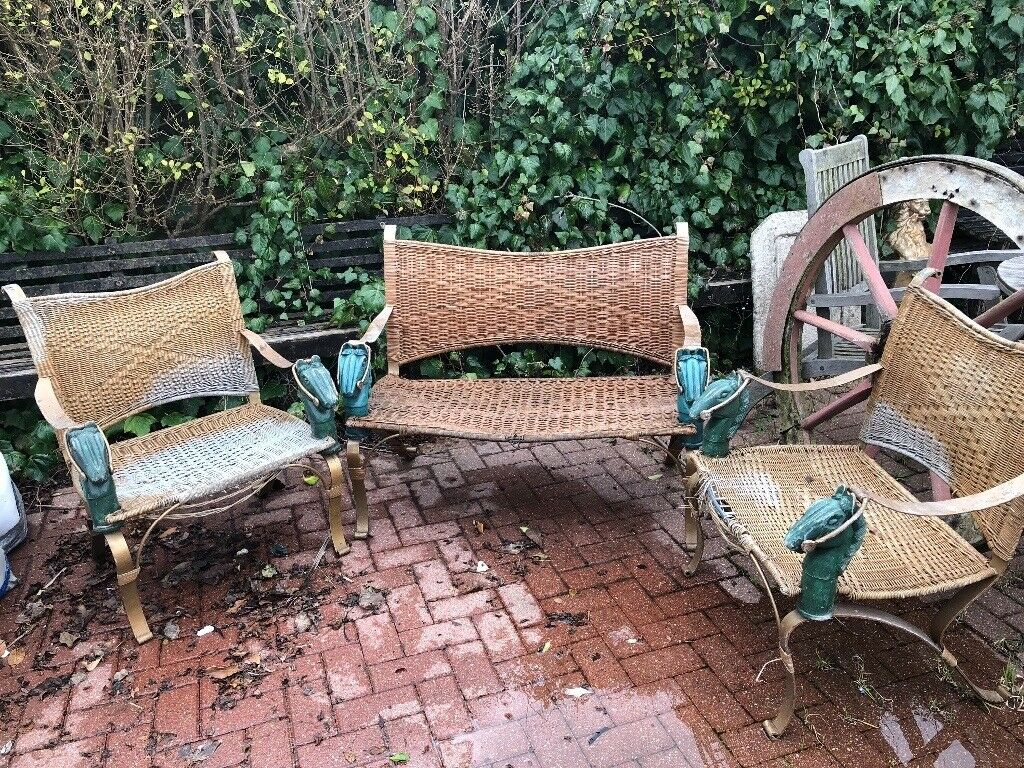 Unusual Antique Garden Furniture Featuring Horse Features