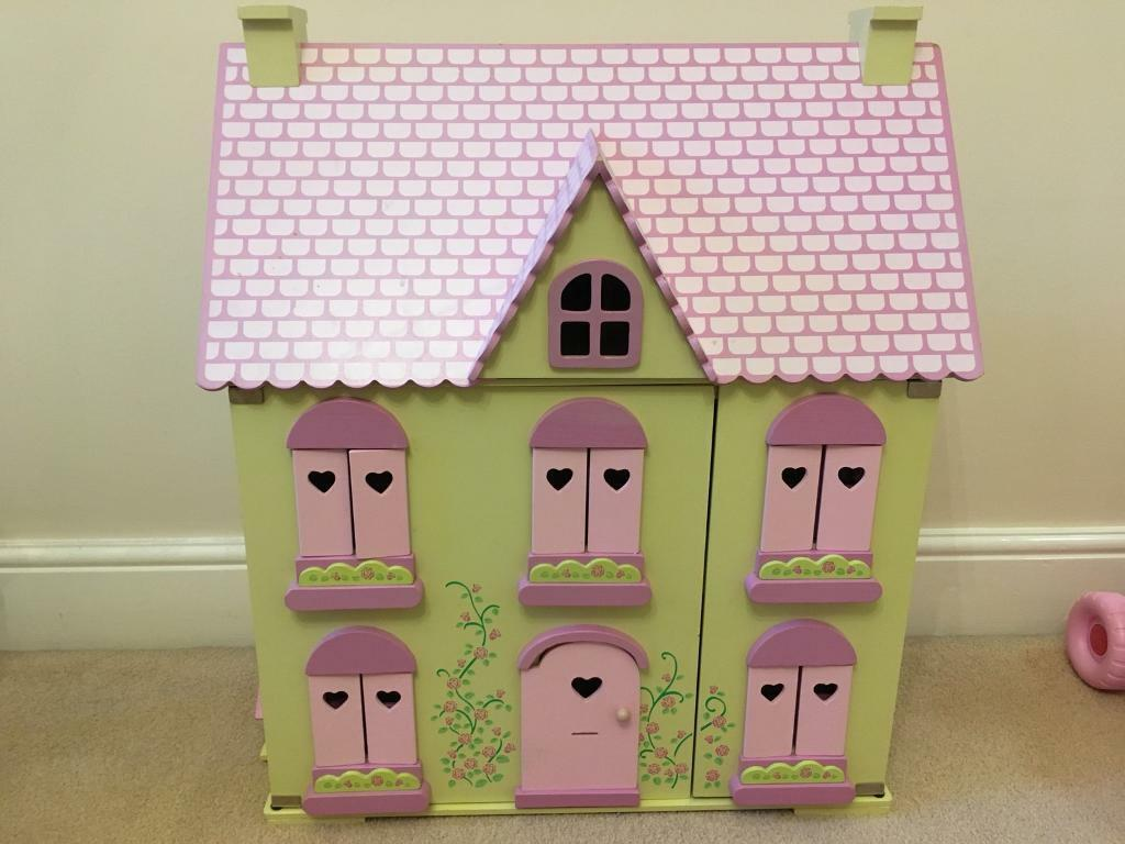 Wooden Dolls House, ELC Rosebud, Complete With Furniture And Doll Family