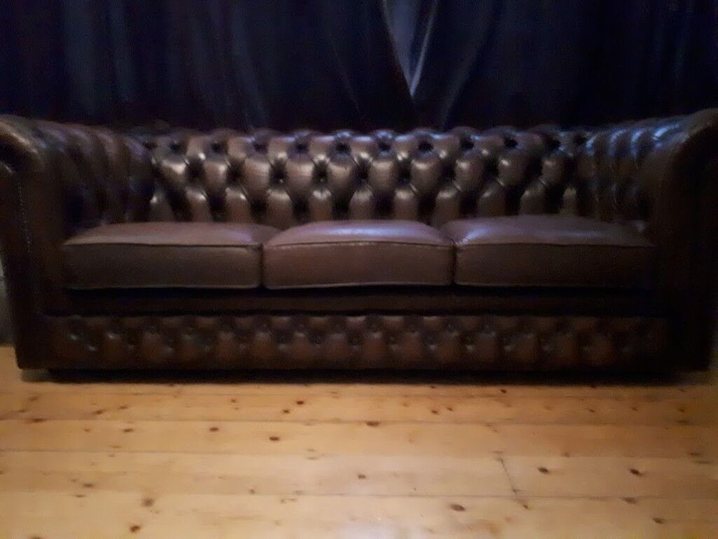 Luxury Handmade Thomas Lloyd Chesterfield Dark Brown 3 Seater Leather Sofa