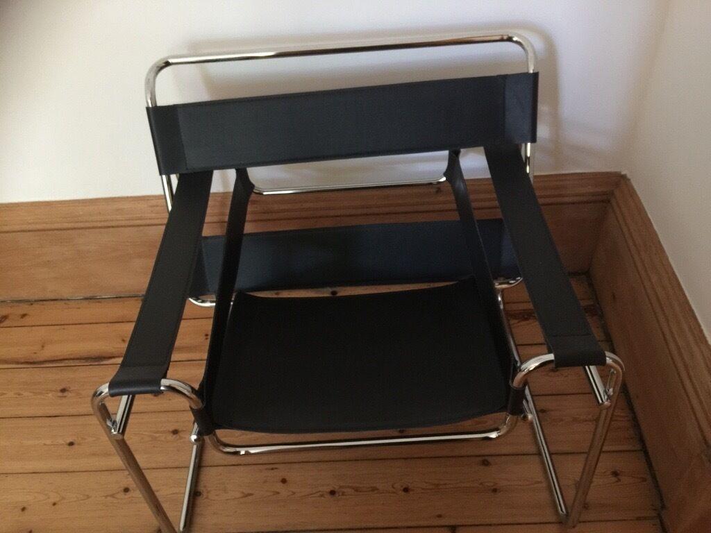vintage retro black leather chrome le corbusier chair