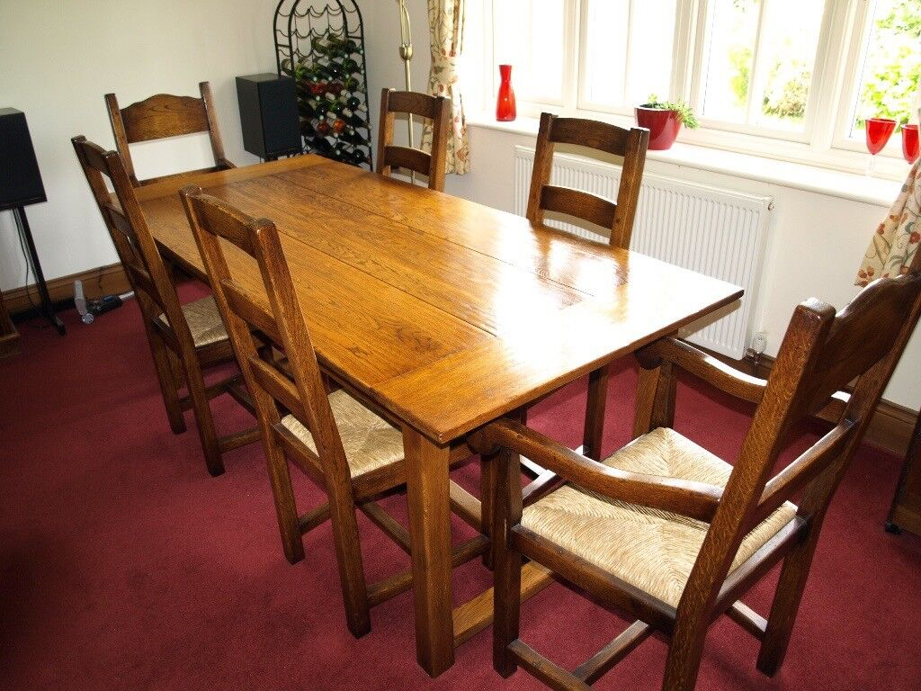 Brights Of Nettlebed Oak Refectory Table And Chairs