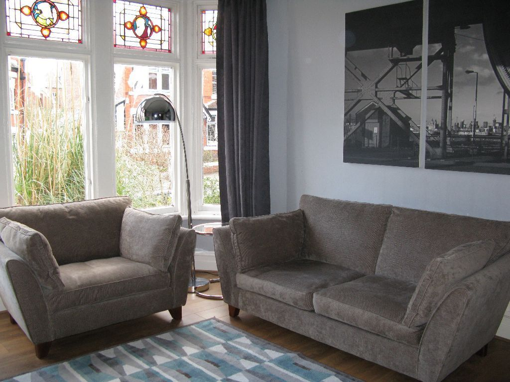 Beau Beige/Grey Mu0026S Marks U0026 Spencer U0027Barlettau0027 3 Seater Sofa U0026 Snuggle Chair