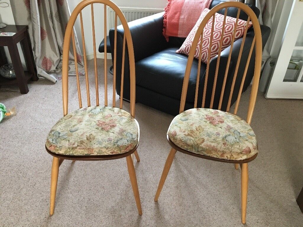 Pair Of Ercol Quaker Dining Chairs Complete With Ercol Cushions