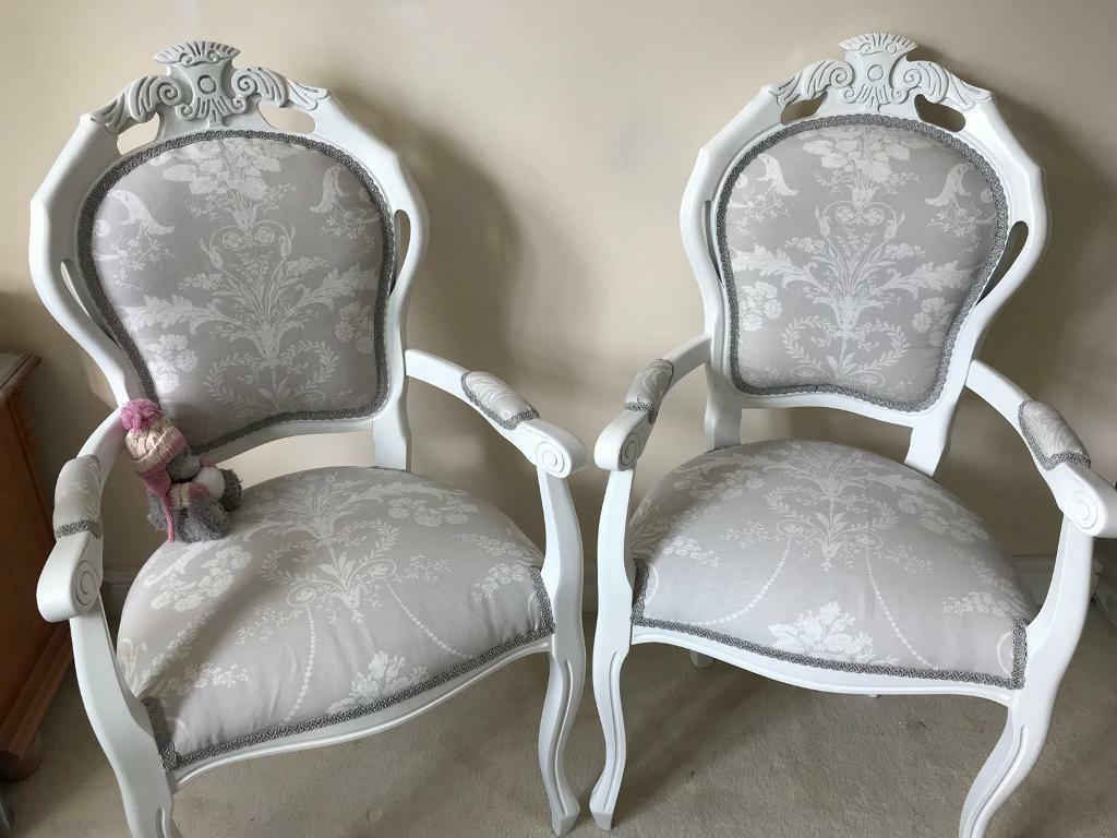 French Louis Carver Chair Laura Ashley Josette Dove Grey Fabric Dressing  Table Chair Hall