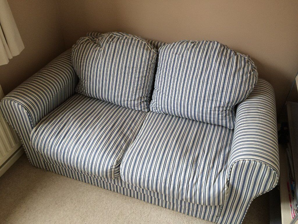 2 Seater Blue/white Striped Sofa Bed