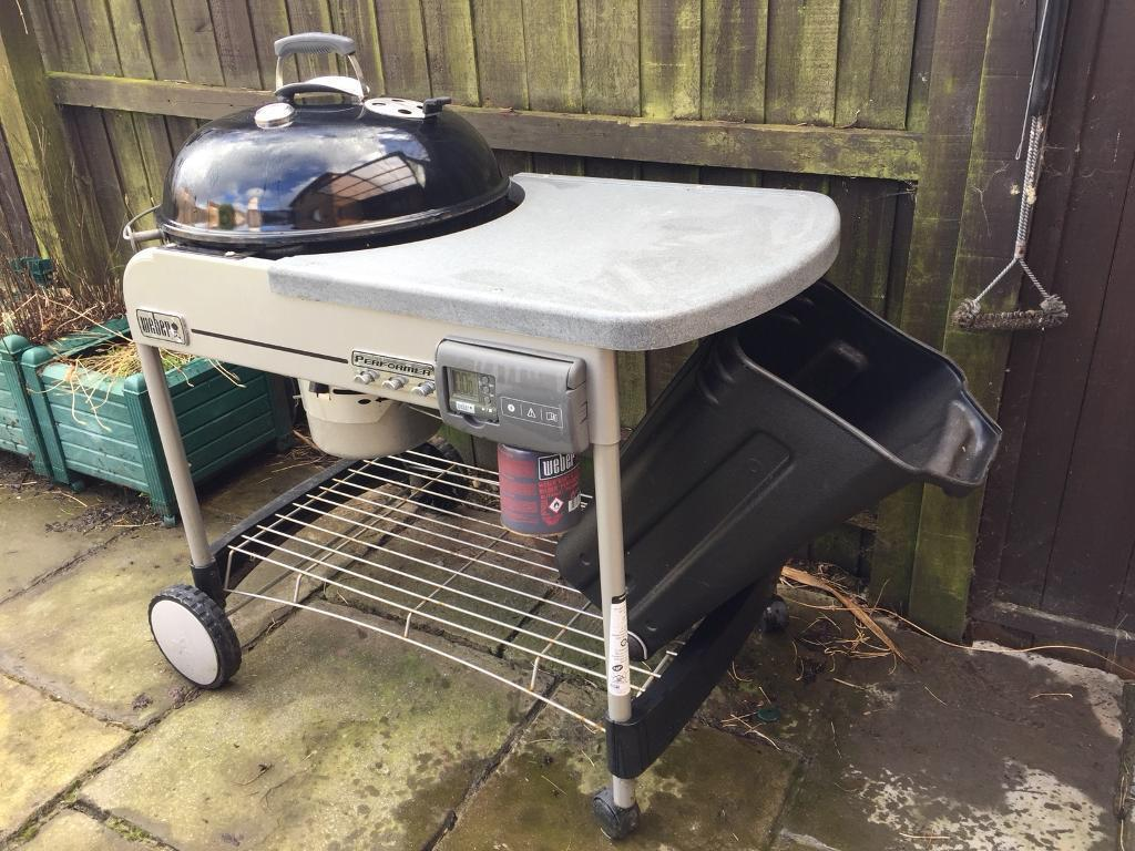 Weber 57cm Performance BBQ With Side Table And Charcoal Storage Bin