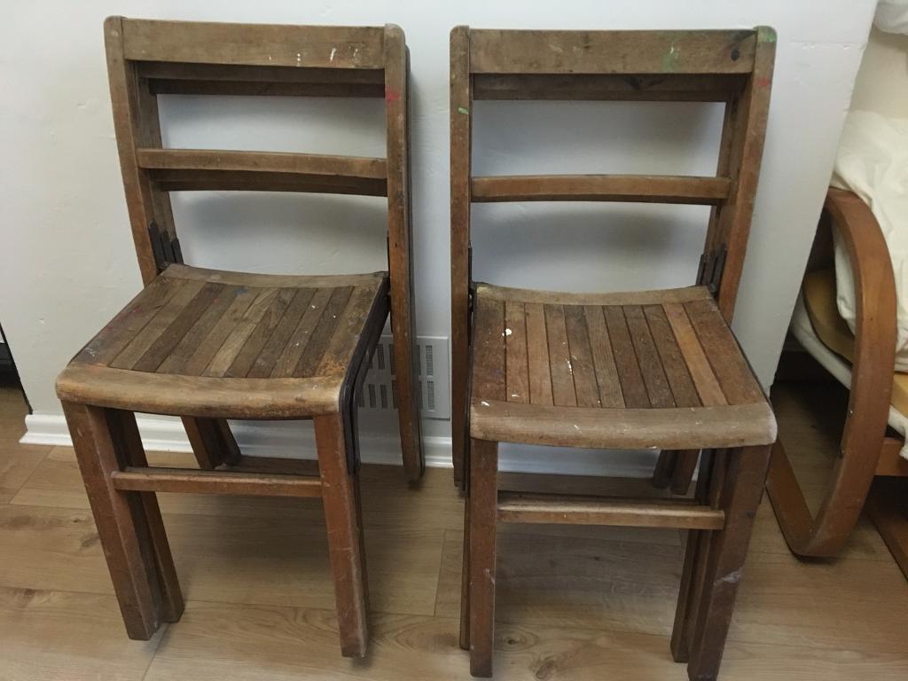 6 old vintage wooden school chairs & 6 old vintage wooden school chairs   in Roath Cardiff   Gumtree