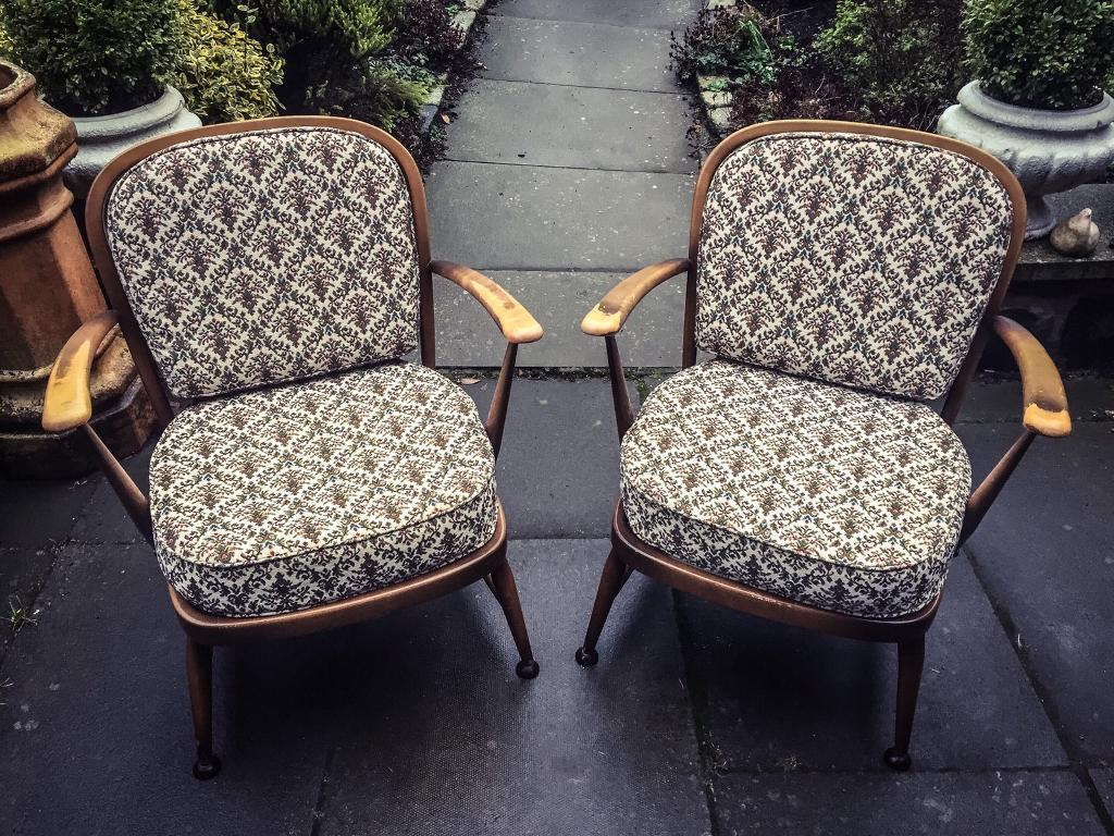 Matching pair of vintage 334 ercol easy chairs. Retro