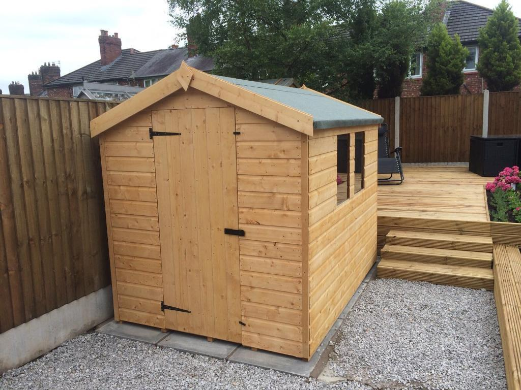 NEW HIGH QUALITY Tu0026G 7x5 APEX ROOF GARDEN SHEDS £349.00 ANY SIZE (FREE  DELIVERY