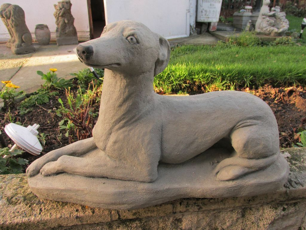 STONE CONCRETE GREYHOUND GARDEN STATUE