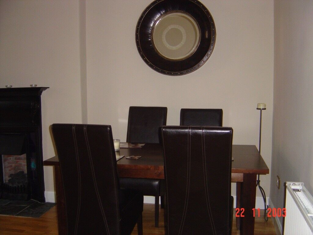 Delightful Solid Wood Dining Table, Six Leather Chairs, Sideboard U0026 Mirror From House  Of Fraser