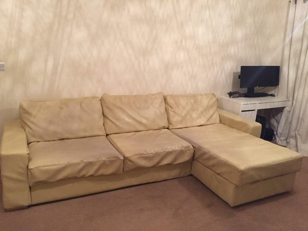 Large Cream Faux Leather Sofa/bed