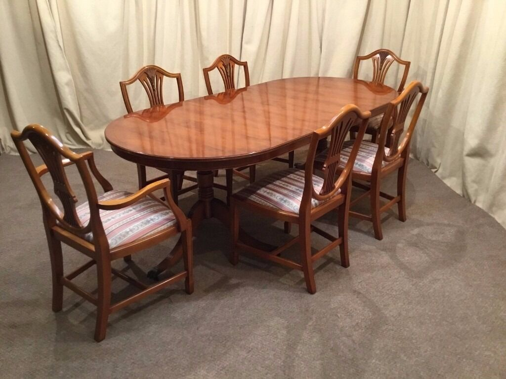 Yew Dining Table 6 Chairs