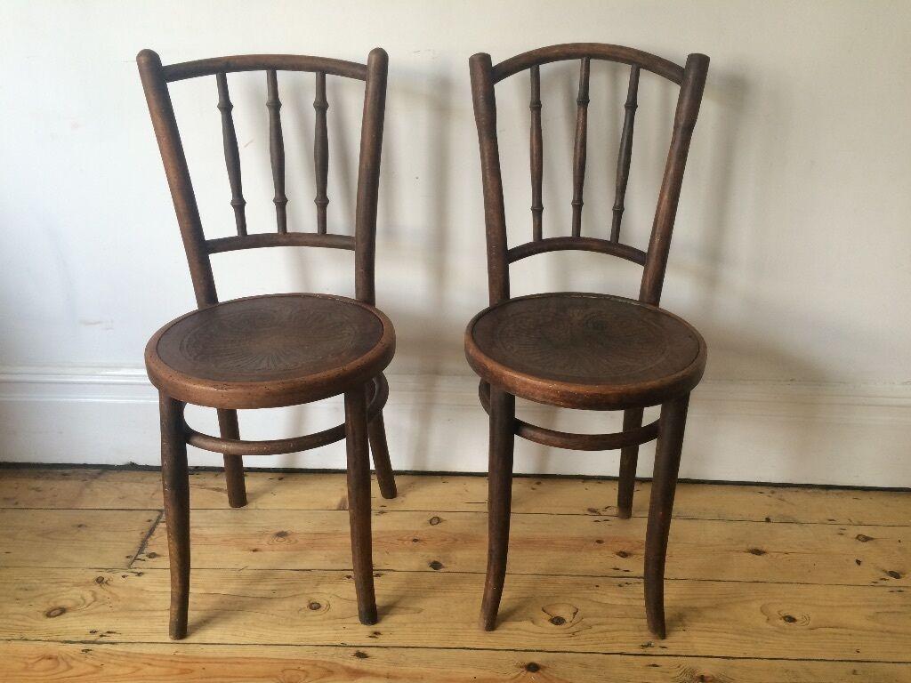 Antique Vintage Thonet Mundus Cafe Bistro Bentwood Kitchen Dining Chairs C  1920s